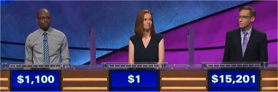 Final Jeopardy (1/1/2018) Henry Ayoola, Lisa McAndrews, Nick Spicher