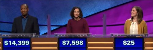 Final Jeopardy (1/11/2018) Gilbert Collins, Julie Zauzmer, Rebecca Zoshak