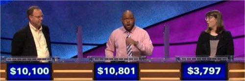 Final Jeopardy (1/5/2018) Sean Sullivan, Brandon Brooks, Claudia Hochstein