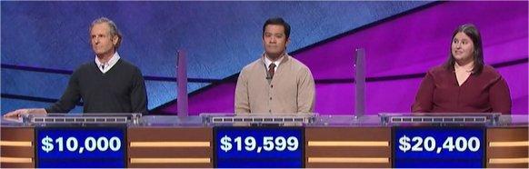Final Jeopardy (10/20/2017) Tom Blake, Tim Suba, Kathleen Kosman