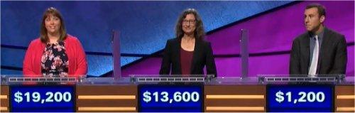 Final Jeopardy (12/19/2017) Kate O'Connor, Lisa Beth Davis, Jordan Garroway