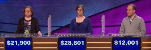Final Jeopardy (9/13/2017) Laura Kelsay, Jen Sosnowski, Jay Olman