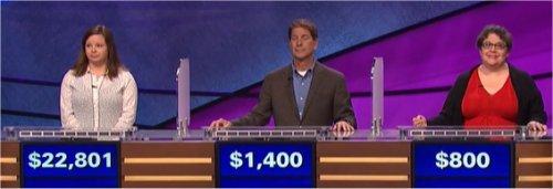 Final Jeopardy (9/21/2017) Betsy Knudson, Thom Page, Diane Esemplare