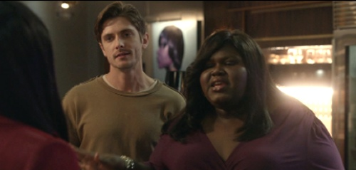 Samuel Hunt as Xavier Rosen and Gabourey Sidibe as Becky