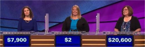 Final Jeopardy (1/12/2017) Zoey Orol, Sarah Labadie, Cheryl Guy
