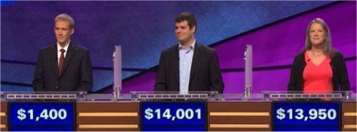 Final Jeopardy (1/16/2017) Eli Nehus, Mary Caruso, John Avila