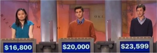 Final Jeopardy (11/14/2016) Lucia Geng, Antonio Karides, Connor Pierce