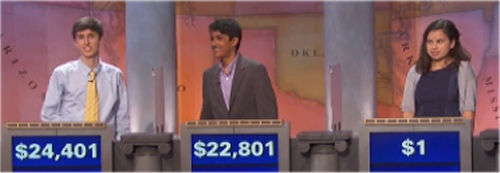 Final Jeopardy (11/15/2016) Michael Borecki, Sharath Narayan, Jasmine Wheeler