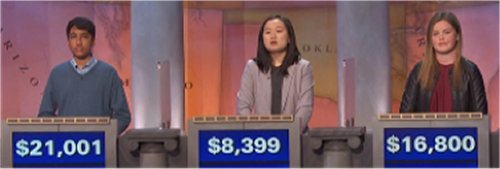 Final Jeopardy (11/16/2016) Lily Allingham, Lucia Geng, Sharath Narayan