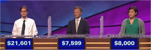 Final Jeopardy (11/30/2016) Justin Bender, Michael Malyszko, Vicki Kelly