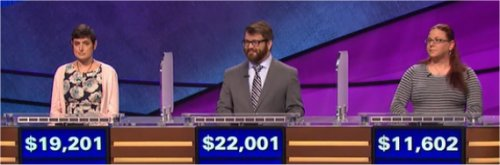 Final Jeopardy (12/21/2016) Cindy Stowell, Sam Scovill, Jennifer Johnson