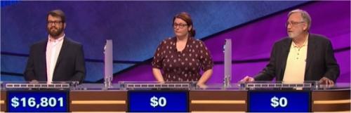 Final Jeopardy (12/22/2016) Sam Scovill, Amelia Reinwald, Brad Snyder