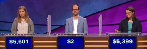 Final Jeopardy (12/27/2016) Stephanie Schlatter, Hallie Boston, Colin Utley