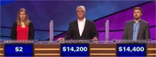 Final Jeopardy (12/28/2016) Stephanie Schlatter, Mike Lamar, Justin Scace