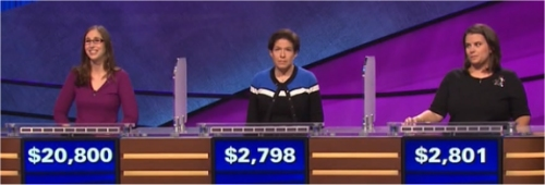 Final Jeopardy (2/1/2017) Lisa Schlitt, Julie Bradlow, Amanda Harvey