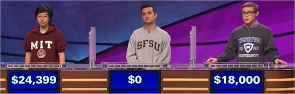 Final Jeopardy (2/13/2017) Lilly Chin, Esteban Fernandez, Netanel Paley
