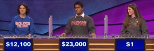 Final Jeopardy (2/14/2017) Jennifer Katz, Viraj Mehta, Hannah Whisnant