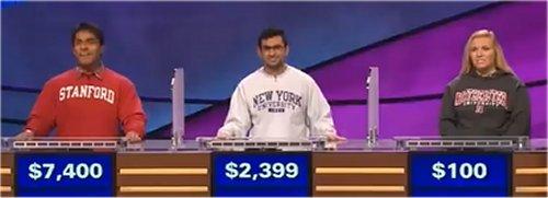 Final Jeopardy (2/21/2017) Viraj Mehta, Mohan Malhotra, Clarissa Santori
