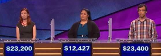 Final Jeopardy (3/14/2017) Jessica Johnston, Lolita Welch, Grant McSheffrey