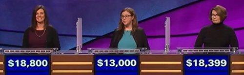 Final Jeopardy (3/29/2017) Julie Brannon, Rachel Levinson-Emley, Tricia Riley