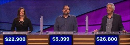 Final Jeopardy (3/30/2017) Julie Brannon, Brook North, Eric Vernon