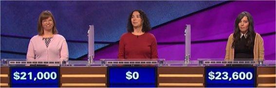 Final Jeopardy (4/5/2017) Abigail Myers, Amy Falconetti, Nora Rowaily