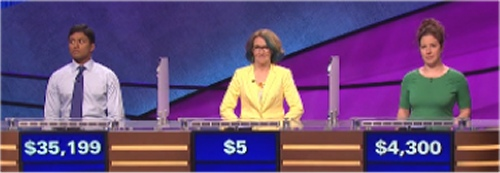 Final Jeopardy: Jason George, Amy Ware and Jessica Plagens