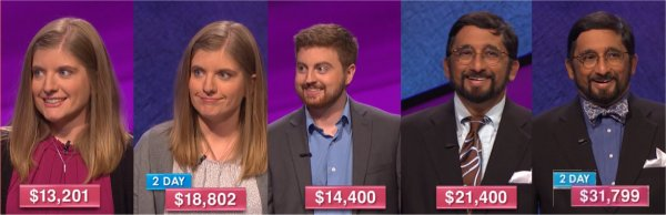 Jeopardy champs Dec 26 - 30, 2016