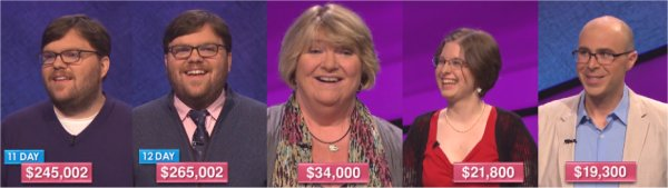 Jeopardy! champs for the week of October 3, 2016
