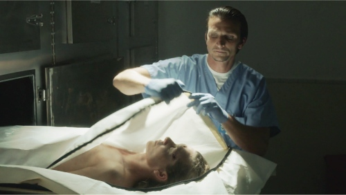 Aaron Behr as the coroner in Ray Donovan
