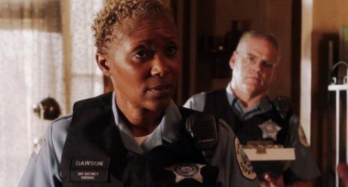 Shelley Robertson as Officer Dawson in Shameless
