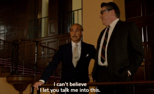 Stanley Tucci as Jack Warner and Alfred Molina as Robert Aldrich