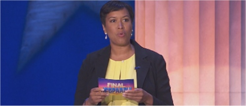 Washington D.C. Mayor Muriel Bowser reads the Final Jeopardy clue in U.S. History on 5-20-2016