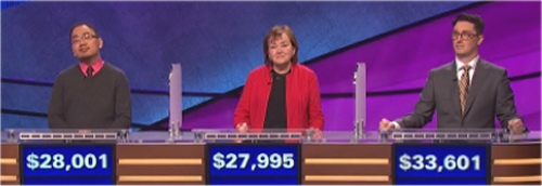 Final Jeopardy Results for Monday, April 25, 2016