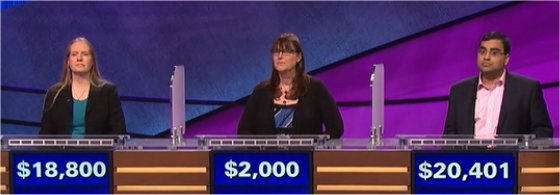 Final Jeopardy (5/3/2017) Liz Fischer, Krista Denn, Ragavan Ramsubramani