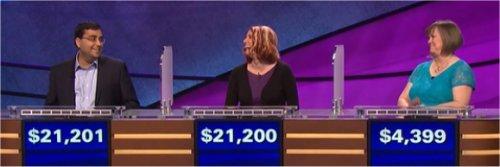 Final Jeopardy (5/4/2017) Ragavan Ramsubramani, Erin Wilson, Laura Spoelstra