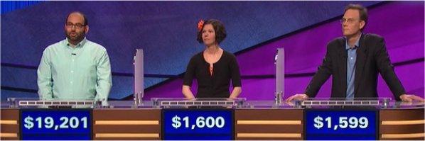 Final Jeopardy (6/20/2017) Peter Guekguezian, Melissa Dean, Chris Nadon