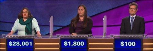Final Jeopardy (6/22/2017) Lisa Evans, Natasha Baker-Bradley, Daniel Esch