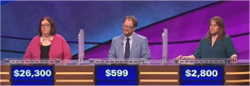 Laurie MacDougall, Will Gilbert and Marjika Howarth on Jeopardy! (June 23, 2016)