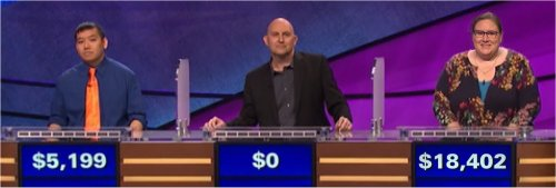 Final Jeopardy (6/5/2017) Joe Nguyen, Buzz Newberry, Chantelle Schofield