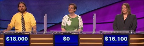 Final Jeopardy (7/24/2017) Justin Vossler, Emily Bridges, Shannon Hindahl