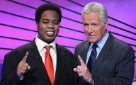 Colby Burnett and Alex Trebek