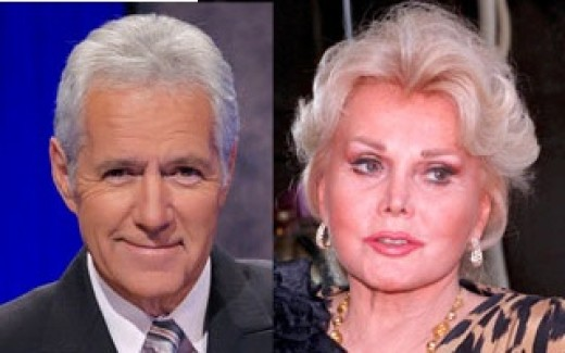 Alex Trebek and Zsa Zsa Gabor