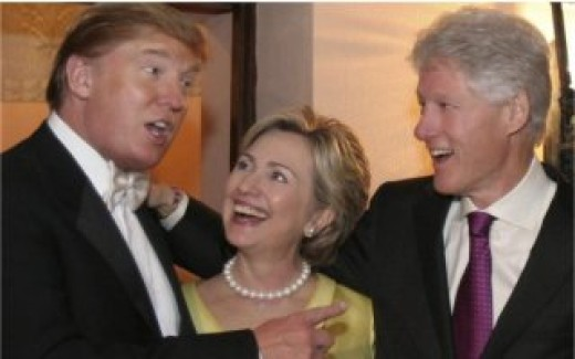 Trump at his wedding with the Clintons