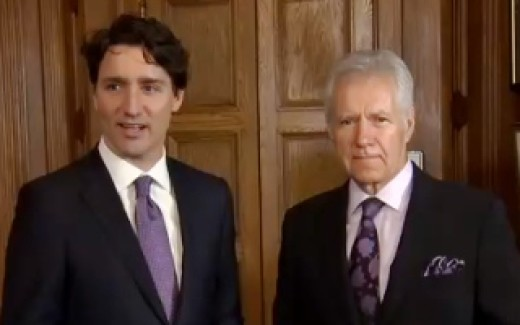 Alex Trebek and Justin Trudeau