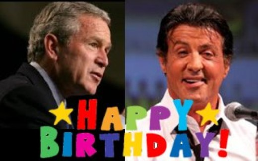 Bush and Stallone turn 70