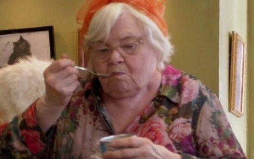 Etta eating cat food